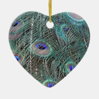 Ornement Cœur En Céramique plumes de paon