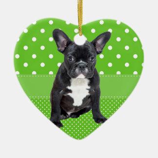 Ornement Cœur En Céramique Pois mignon de vert de chiot de bouledogue