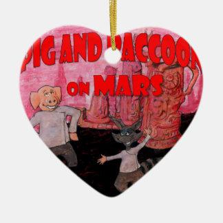 Ornement Cœur En Céramique Porc et raton laveur sur Mars