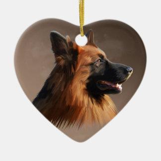 Ornement Cœur En Céramique Portrait d'art d'aquarelle de chien de berger