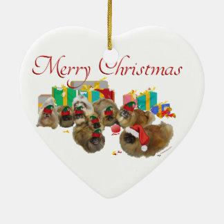 Ornement Cœur En Céramique Préjudice de Noël de Pekingese