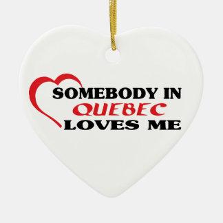 Ornement Cœur En Céramique Quelqu'un au Québec m'aime