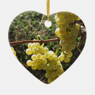 Ornement Cœur En Céramique Raisins blancs sur la vigne. La Toscane, Italie
