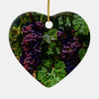 Ornement Cœur En Céramique Raisins ensoleillés de vignoble de la Toscane de