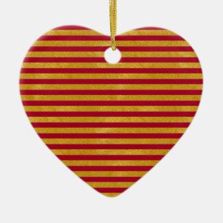 Ornement Cœur En Céramique Rayure élégante d'or - coutume votre couleur