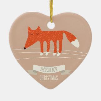 Ornement Cœur En Céramique renard de Noël
