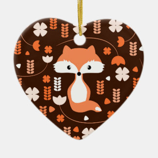 Ornement Cœur En Céramique Renard, fleurs et feuille mignons dans l'orange