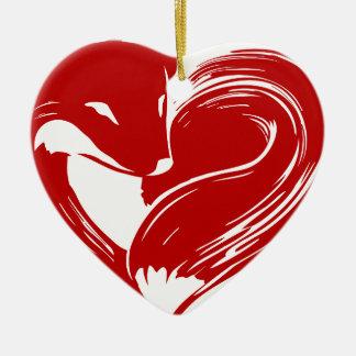 Ornement Cœur En Céramique Renards d'amour