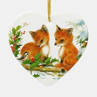 Ornement Cœur En Céramique Renards et oiseau de Noël de bébé avec le houx