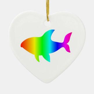 Ornement Cœur En Céramique Requin #2 d'arc-en-ciel