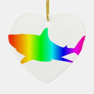 Ornement Cœur En Céramique Requin d'arc-en-ciel