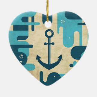 Ornement Cœur En Céramique Rétro conception nautique turquoise d'ancre