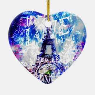 Ornement Cœur En Céramique Rêves parisiens d'arc-en-ciel de ceux qui nous