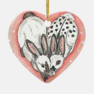 Ornement Cœur En Céramique Rose commémoratif d'ornement de Valentine de Noël