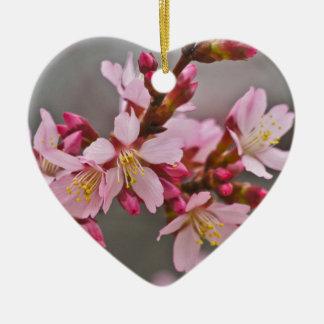 Ornement Cœur En Céramique Rose contre les fleurs de cerisier grises d'un