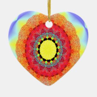 Ornement Cœur En Céramique rose d'ornement de kaléidoscope