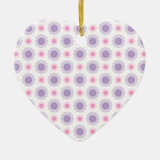 Ornement Cœur En Céramique Rose et motif floral pourpre