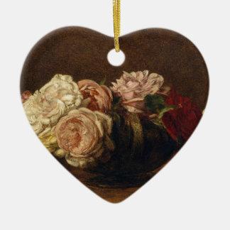 Ornement Cœur En Céramique Roses dans une cuvette - Henri Fantin-Latour