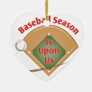 Ornement Cœur En Céramique Saison de base-ball