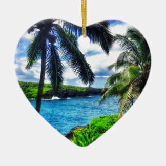 Ornement Cœur En Céramique Scène du Hawaïen IMG_1122 4