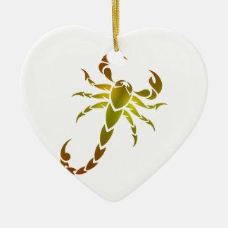 Ornement Cœur En Céramique Scorpion d'or