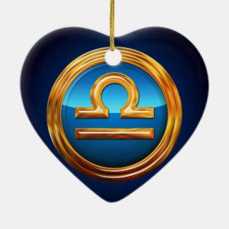 Ornement Cœur En Céramique Signe de zodiaque de Balance