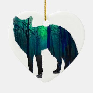 Ornement Cœur En Céramique Silhouette de Fox - renard de forêt - art de
