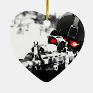 Ornement Cœur En Céramique Sniper Art