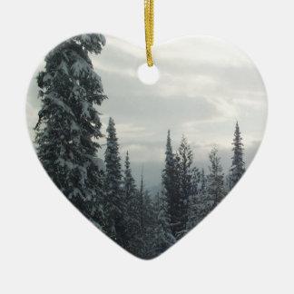 Ornement Cœur En Céramique Soirée d'hiver