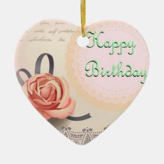 Ornement Cœur En Céramique Souhaits d'anniversaire de l'ornement de coeur