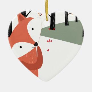 Ornement Cœur En Céramique Sourire mignon vintage de loup de renard de bébé