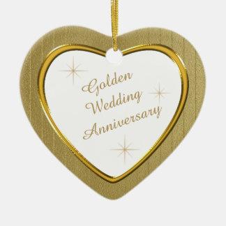 Ornement Cœur En Céramique Souvenir de coeur d'anniversaire de mariage d'or