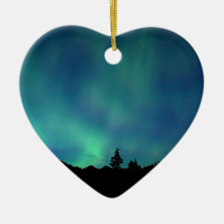Ornement Cœur En Céramique Special léger bleu, l'aurore Borealis