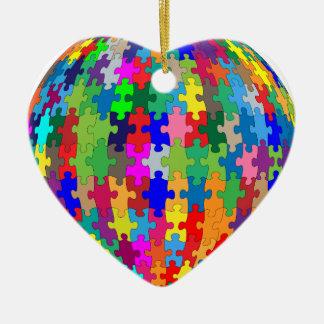 Ornement Cœur En Céramique Sphère de puzzle