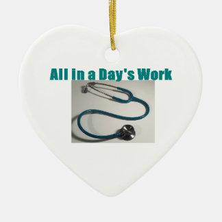 Ornement Cœur En Céramique Stéthoscope médical