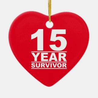 Ornement Cœur En Céramique survivant de 15 ans