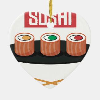 Ornement Cœur En Céramique Sushi