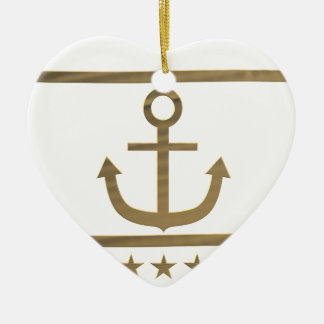 Ornement Cœur En Céramique symbole de bonheur d'ancre d'or