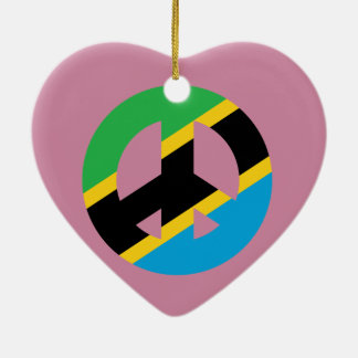 Ornement Cœur En Céramique Symbole de paix tanzanien