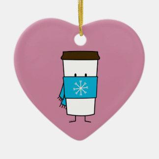 Ornement Cœur En Céramique Tasse de café heureuse utilisant une écharpe