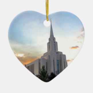 Ornement Cœur En Céramique Temple mormon de l'Utah de montagne de LDS Oquirrh