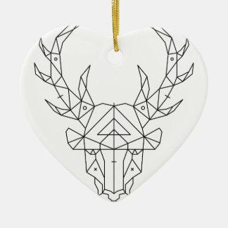 Ornement Cœur En Céramique Tête de cerfs communs