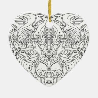 Ornement Cœur En Céramique tête de loup