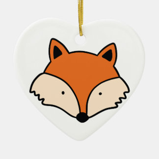 Ornement Cœur En Céramique Tête simple de renard