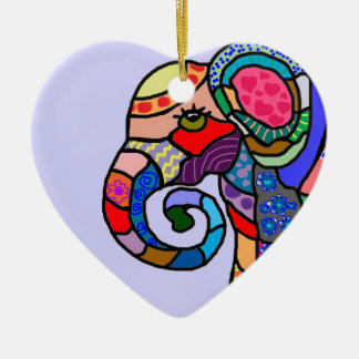 Ornement Cœur En Céramique Tête vibrante abstraite colorée d'éléphant