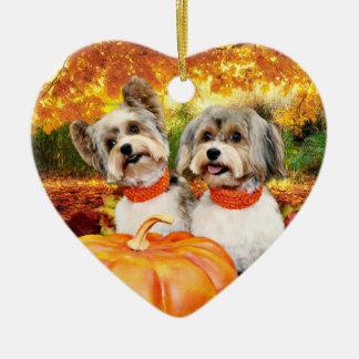 Ornement Cœur En Céramique Thanksgiving de chute - maximum et Lion - Yorkies