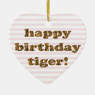 Ornement Cœur En Céramique Tigre de joyeux anniversaire ! Copie de tigre
