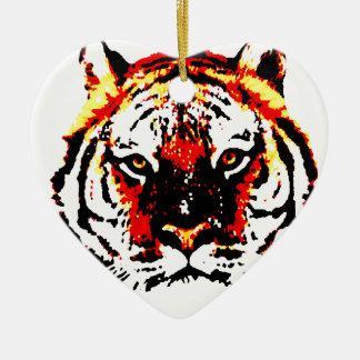 Ornement Cœur En Céramique Tigre sauvage