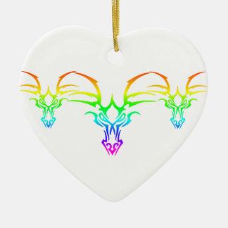 Ornement Cœur En Céramique Tribal d'arc-en-ciel