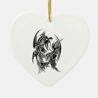 Ornement Cœur En Céramique Tribal dragon